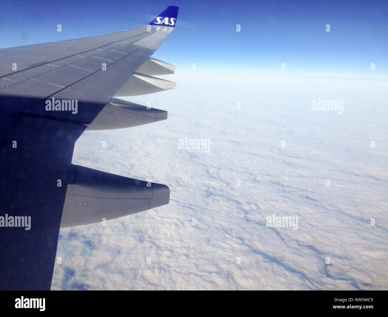 View out of a SAS plane above clouds with view of the wing - Stock Image