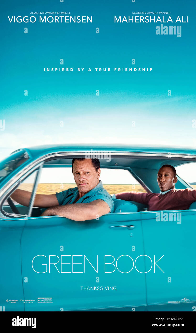 Green Book (2018) directed by Peter Farrelly and starring Viggo Mortensen, Mahershala Ali and Linda Cardellini. - Stock Image