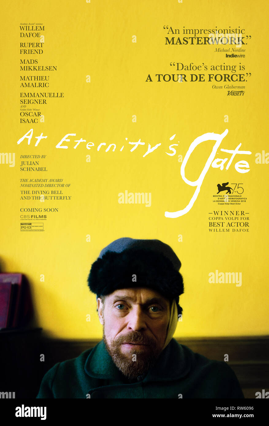 At Eternity's Gate (2018) directed by Julian Schnabel and starring Willem Dafoe, Rupert Friend and Oscar Isaac. Biopic about the life of Vincent van Gogh. - Stock Image