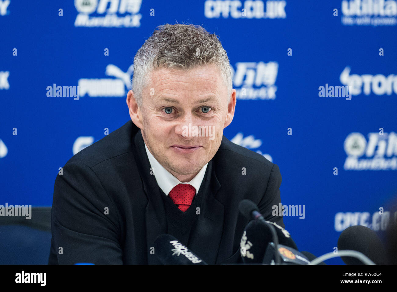 LONDON, ENGLAND - FEBRUARY 27: manager Ole Gunnar Solskjaer of Manchester United at press conference after the Premier League match between Crystal Pa - Stock Image