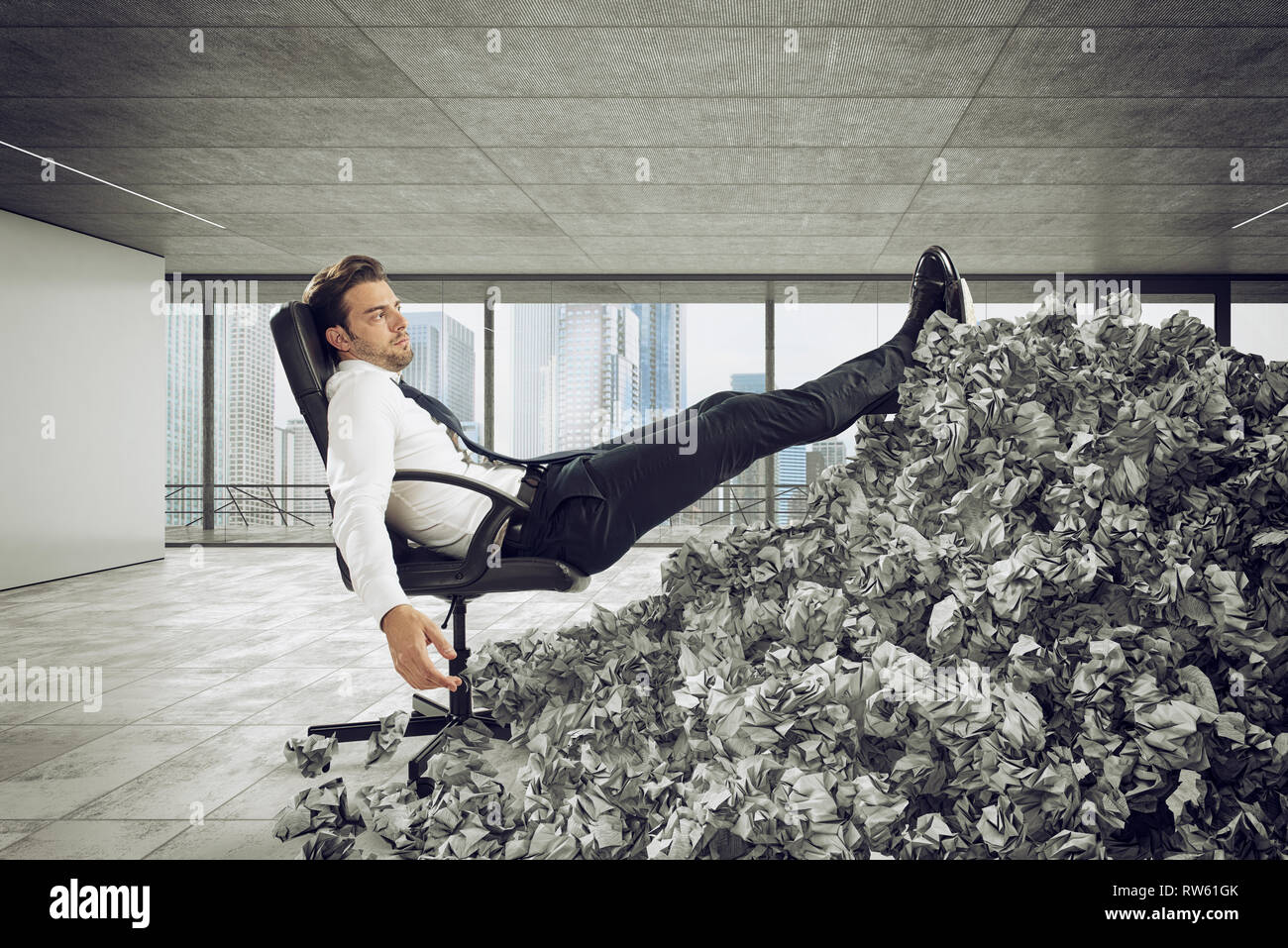 Businessman with paper sheet anywhere. Buried by bureaucracy. Concept of overwork - Stock Image