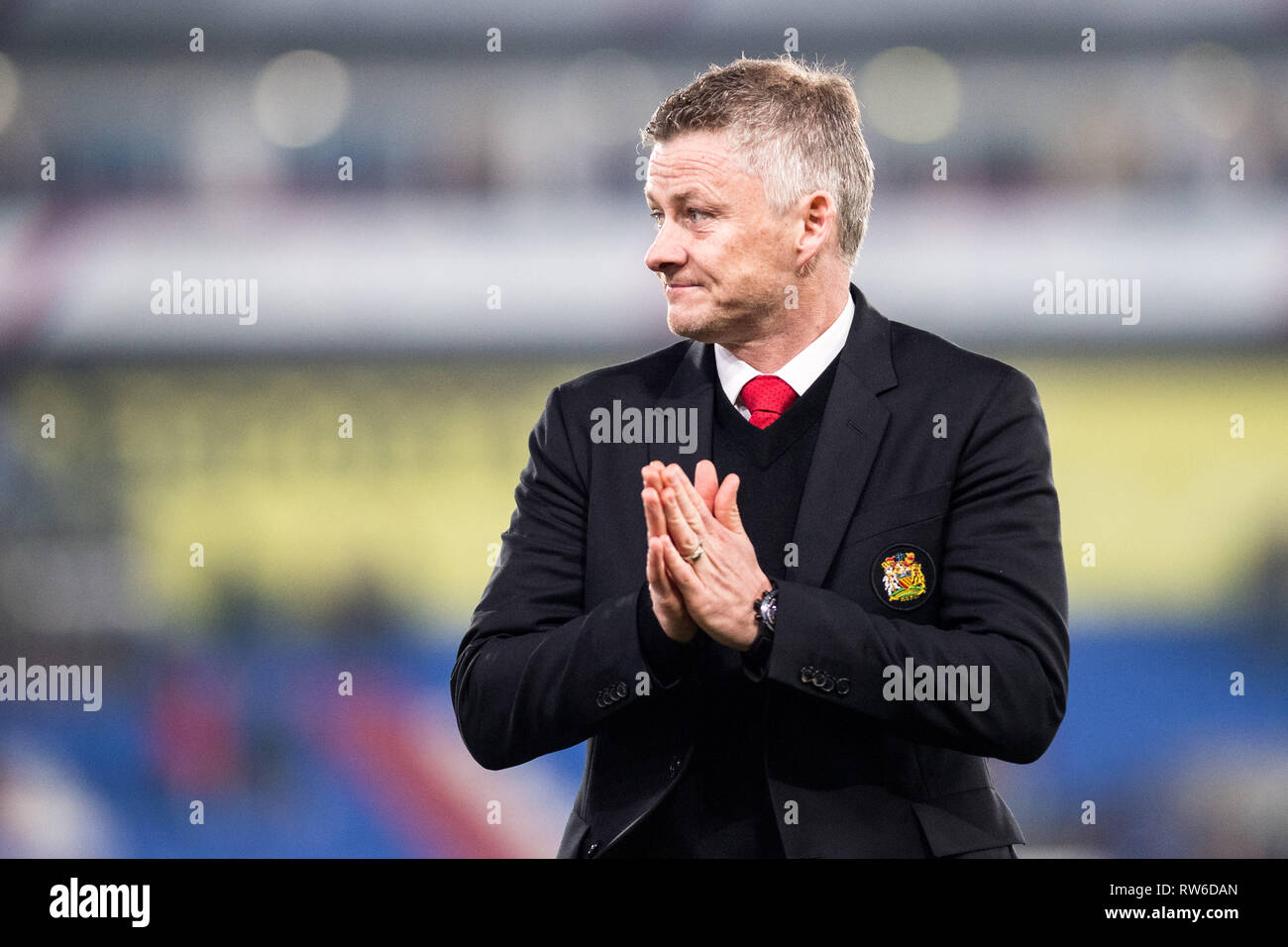 LONDON, ENGLAND - FEBRUARY 27: manager Ole Gunnar Solskjaer of Manchester United reaction during the Premier League match between Crystal Palace and M - Stock Image