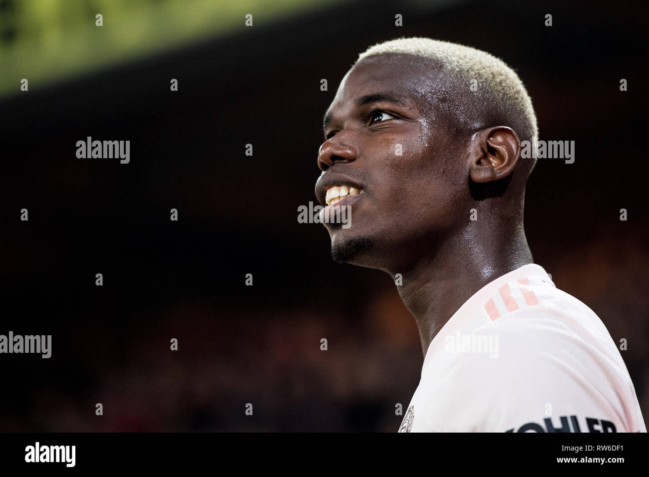 LONDON, ENGLAND - FEBRUARY 27: Paul Pogba of Manchester United looks on during the Premier League match between Crystal Palace and Manchester United a - Stock Image