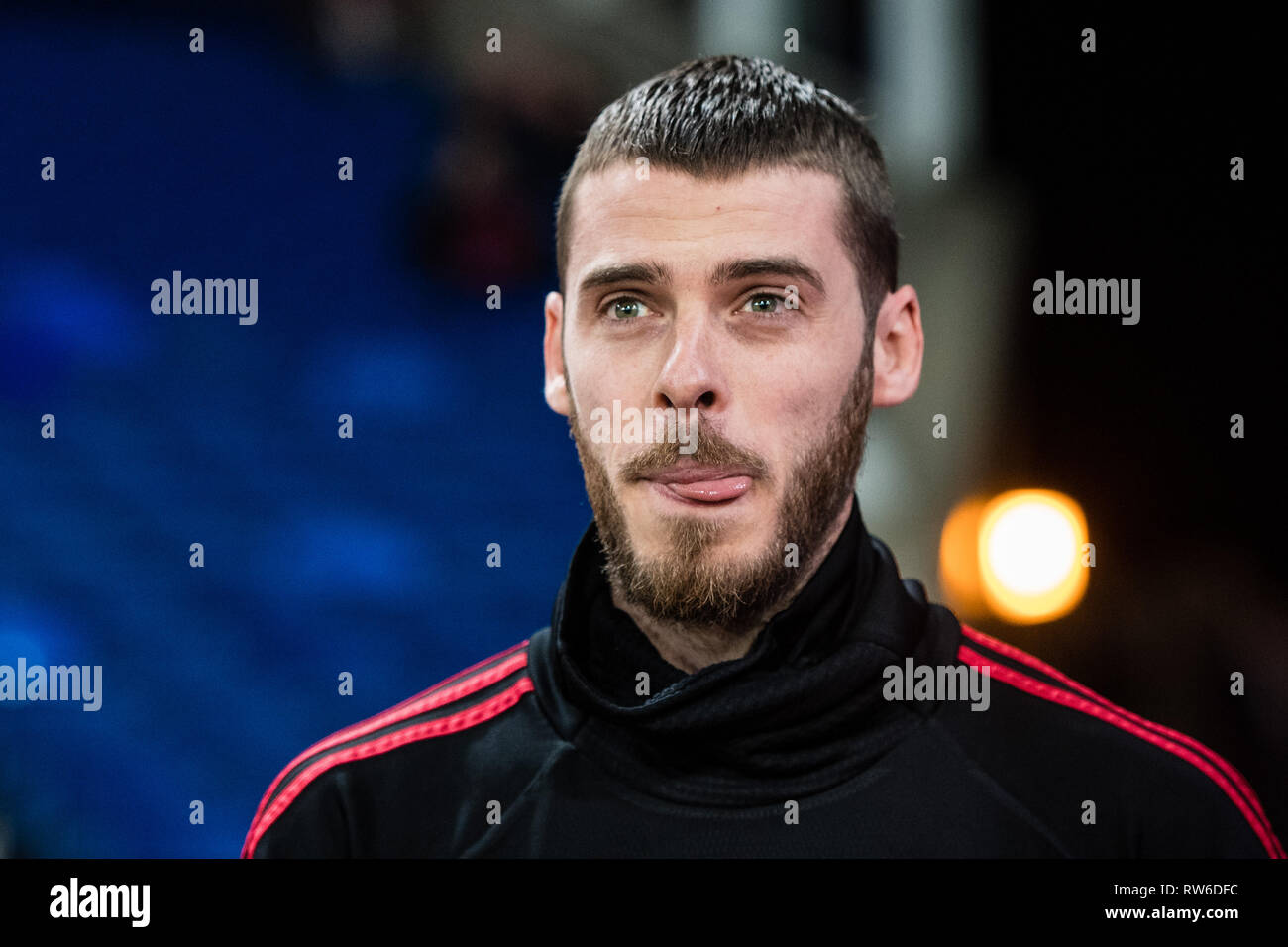 LONDON, ENGLAND - FEBRUARY 27: David de Gea of Manchester United looks on during the Premier League match between Crystal Palace and Manchester United - Stock Image