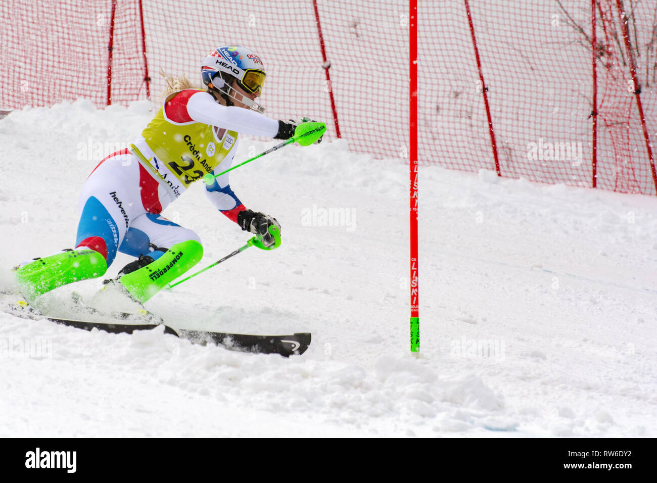 Audi FIS Alpine Ski World Cup - Women's Combined SOLDEU, ANDORRA - FEBRUARY 28: Skier in competes during the Audi FIS Alpine Ski World Cup Women's Sup - Stock Image
