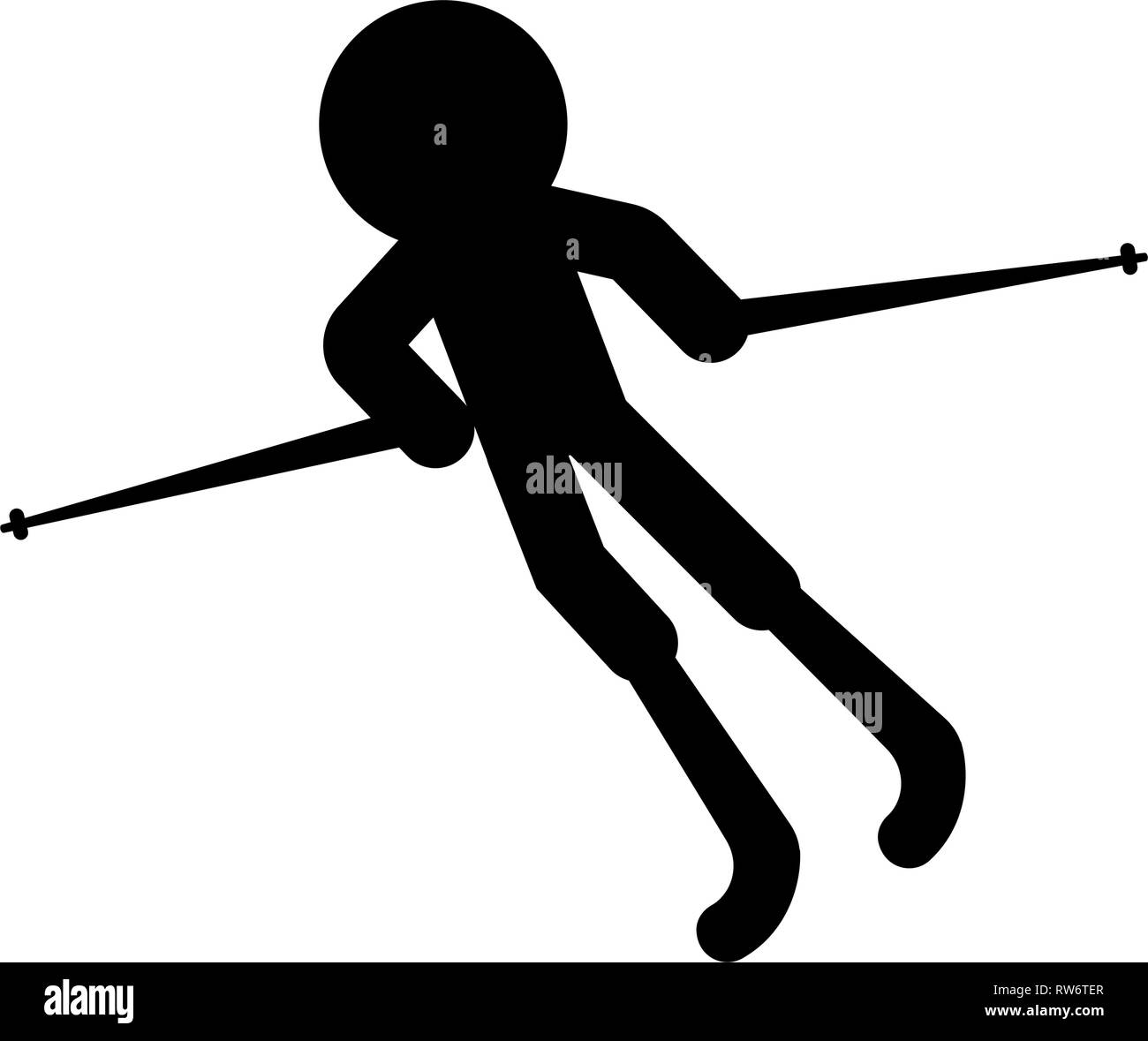 Isolated skiing person icon - Stock Image