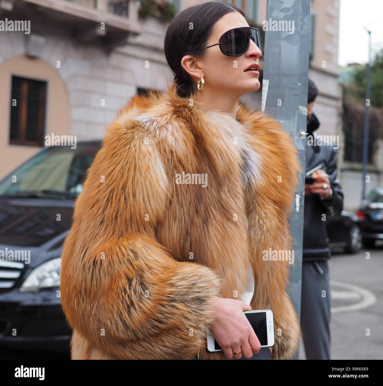 MILAN, Italy: 23 February 2019: Fashion blogger street style outfit before Roberto Cavalli fashion show during Milan fashion - OL7 - Stock Image