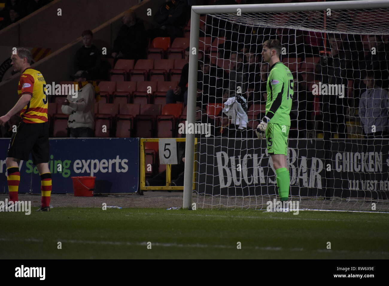 firhill, Maryhill, Glasgow, Scotland 4th march 2019 Partick Thistles no 1 takes charge of box Credit: Thomas Porter/Alamy News - Stock Image
