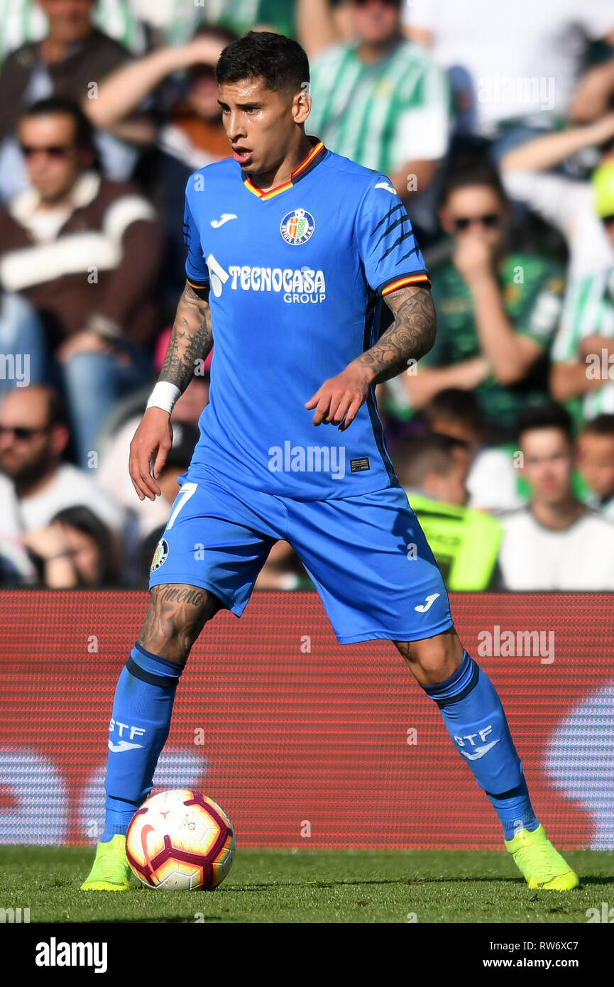 SEVILLA, 03-03-2019. Primera Division Spanish League. LaLiga. Estadio Benito Villamarin. Mathias Olivera (Getafe CF) during the game Real Betis - Getafe CF. - Stock Image