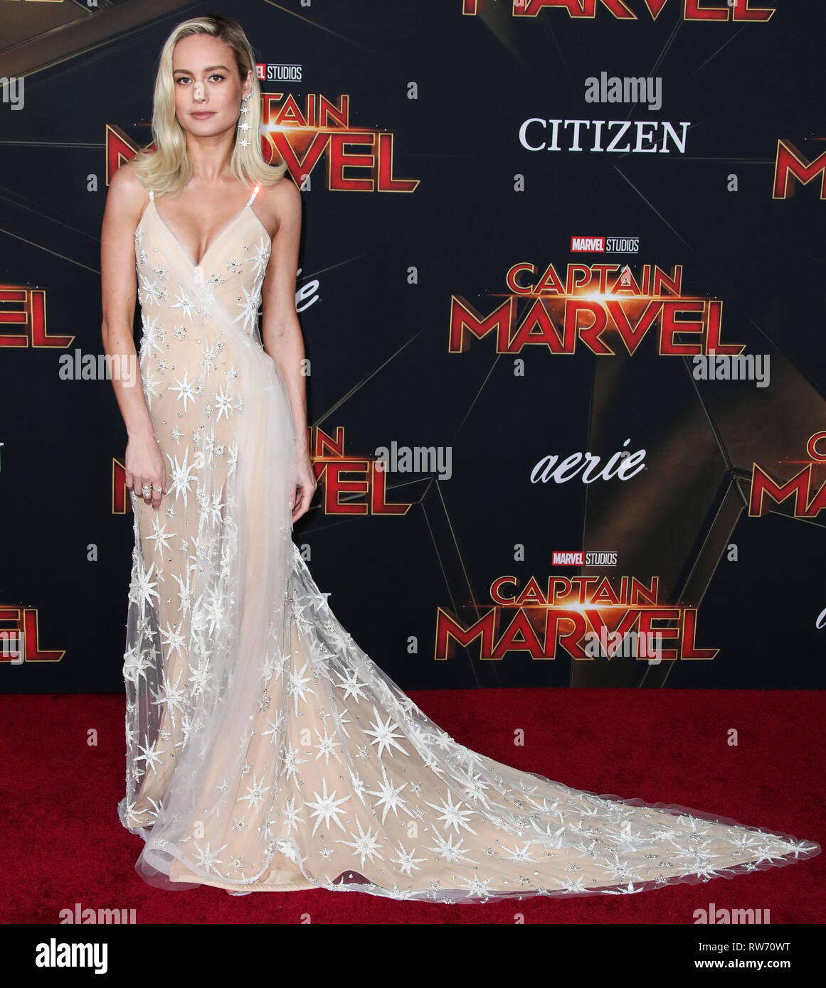 Hollywood, United States. 04th Mar, 2019. HOLLYWOOD, LOS ANGELES, CA, USA - MARCH 04: Actress Brie Larson wearing a Rodarte gown and APM Monaco rings arrives at the World Premiere Of Marvel Studios 'Captain Marvel' held at the El Capitan Theatre on March 4, 2019 in Hollywood, Los Angeles, California, United States. (Photo by Xavier Collin/Image Press Agency) Credit: Image Press Agency/Alamy Live News - Stock Image