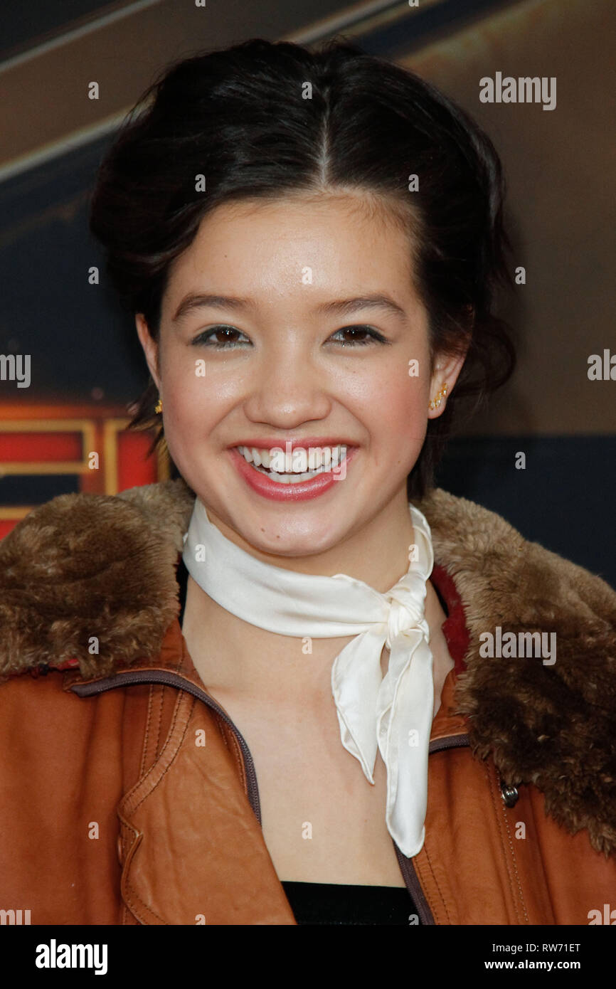 Los Angeles, USA. 04th Mar, 2019. Peyton Elizabeth Lee at Marvel Studios' 'Captain Marvel' World Premiere held at El Capitan Theater in Hollywood, CA, March 4, 2019. Photo Credit: Joseph Martinez/PictureLux Credit: PictureLux/The Hollywood Archive/Alamy Live News - Stock Image