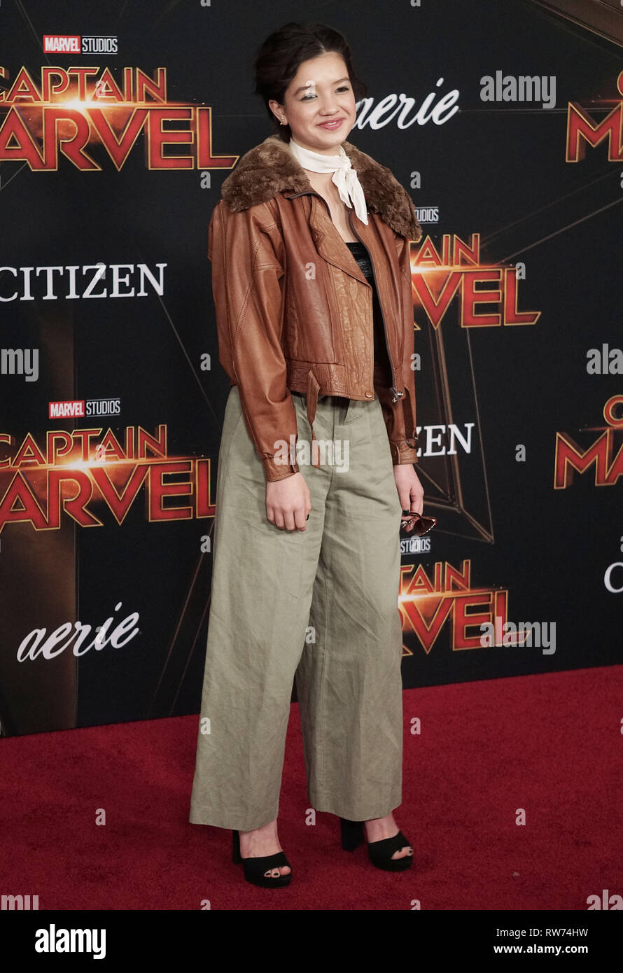Los Angeles, USA. 04th Mar, 2019. Peyton Elizabeth Lee 122 attends the Marvel Studios 'Captain Marvel' premiere on March 04, 2019 in Hollywood, California. Credit: Tsuni/USA/Alamy Live News - Stock Image