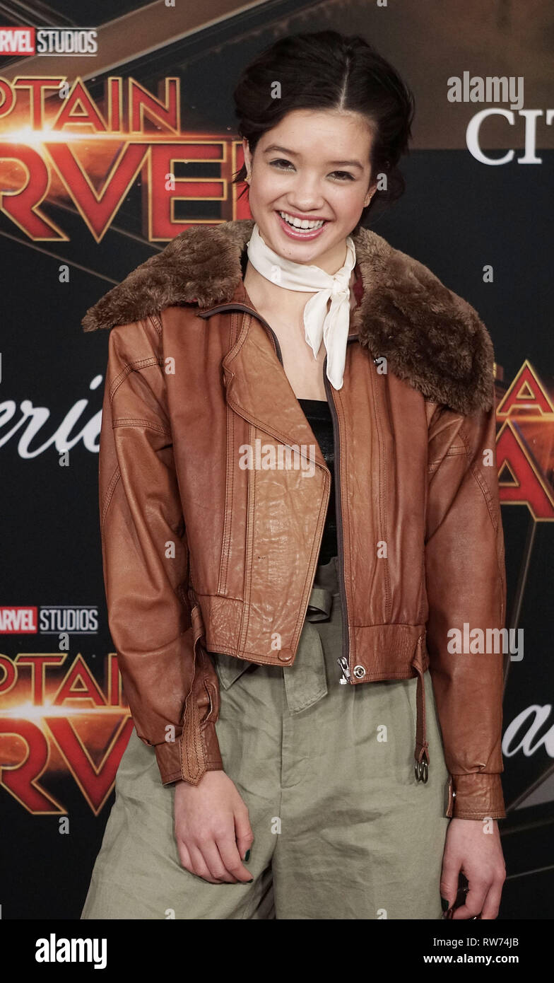 Los Angeles, USA. 04th Mar, 2019. Peyton Elizabeth Lee 125 attends the Marvel Studios 'Captain Marvel' premiere on March 04, 2019 in Hollywood, California. Credit: Tsuni/USA/Alamy Live News - Stock Image