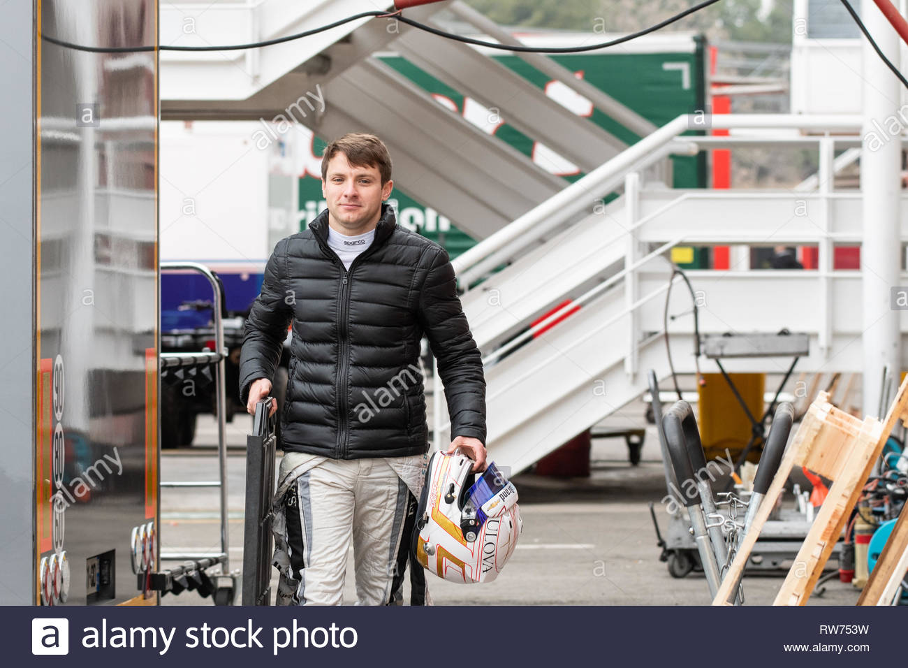 Barcelona, Spain. March 5th, 2019 -  Racing driver Jordan King from Great Britain with 16 MP Motorsport - during day 1 of Fia Formula Two 2019 Pre-Season Test at Circuit de Catalunya. Credit: Kristin Greenwood/Alamy Live News - Stock Image