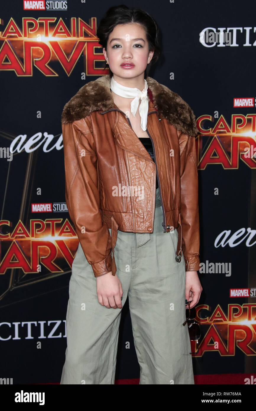 HOLLYWOOD, LOS ANGELES, CA, USA - MARCH 04: Actress Peyton Elizabeth Lee arrives at the World Premiere Of Marvel Studios 'Captain Marvel' held at the El Capitan Theatre on March 4, 2019 in Hollywood, Los Angeles, California, United States. (Photo by Xavier Collin/Image Press Agency) - Stock Image