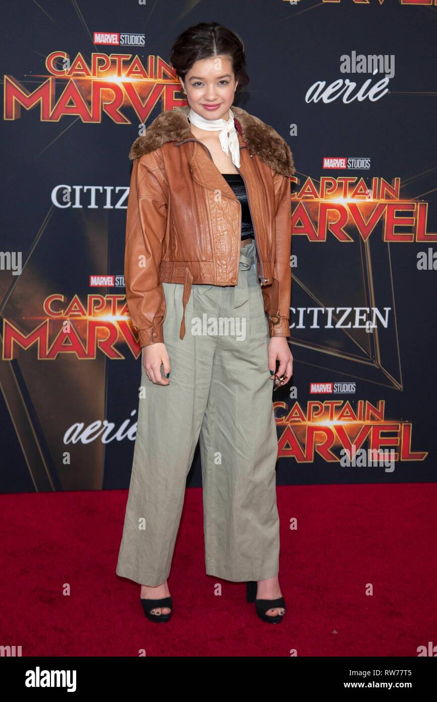 Peyton Elizabeth Lee attends the world premiere of 'Captain Marvel' at El Captian Theatre in Los Angeles, USA, on 04 March 2019. Photo: Chris Ashford | usage worldwide - Stock Image