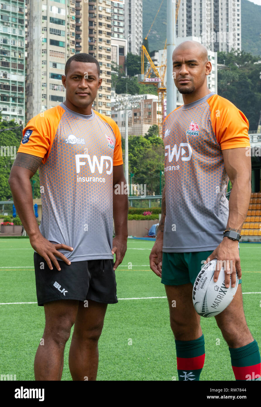 Hong Kong, China. 05th Mar, 2019. HONG KONG, HONG KONG SAR, CHINA. MARCH 5th 2019. L.Fiji's Samisoni Viriviri and Tom Varndell (R) Launch of the South China Tigers professional rugby team to play in the Global Rapid Rugby tournament. Rapid Rugby was conceived to bring a new level of entertainment to Rugby Union in the Asia-Pacific region. Credit: Jayne Russell/Alamy Live News - Stock Image