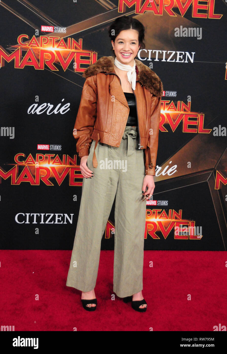Hollywood, USA. 04th Mar, 2019. HOLLYWOOD, CA - MARCH 4: Actress Peyton Elizabeth Lee attends the World Premiere of Marvel Studios 'Captain Marvel' on March 4, 2019 at El Capitan Theatre in Hollywood, California. Credit: Barry King/Alamy Live News - Stock Image