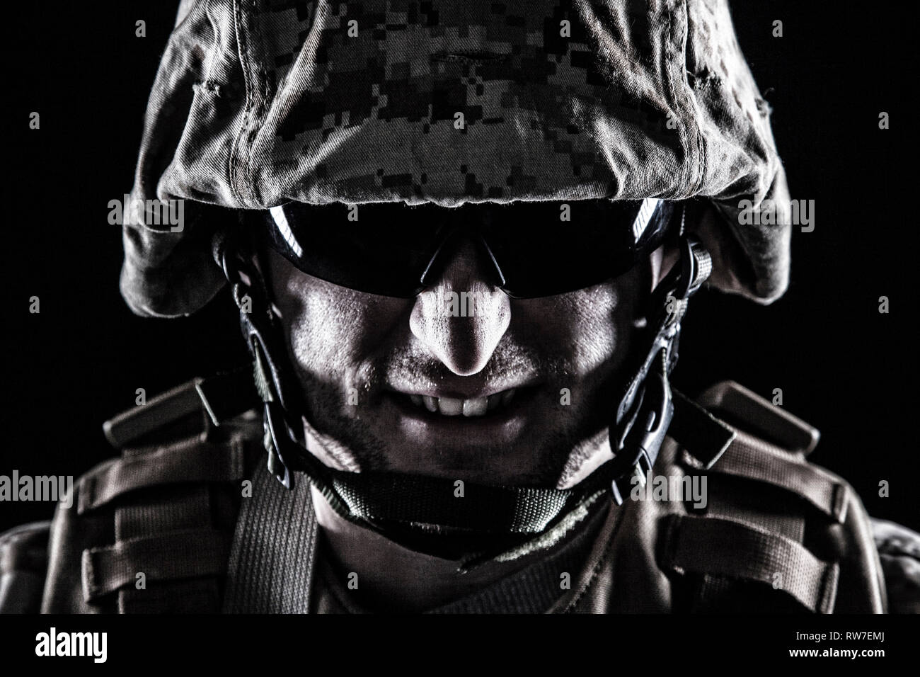 U.S. Marine with grin on his face. - Stock Image