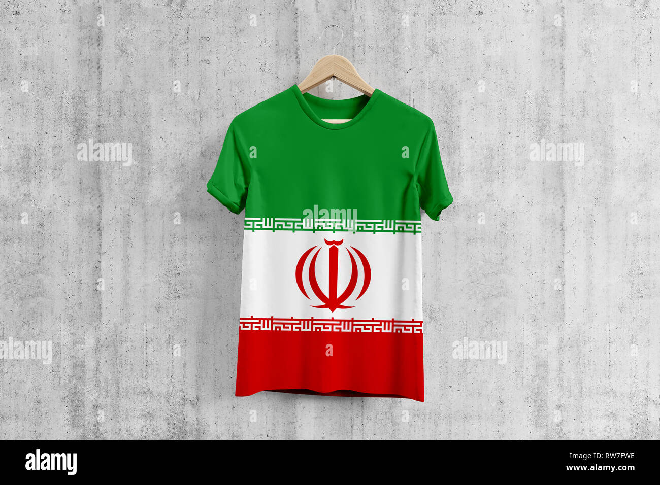 competitive price b8913 6efde Iran flag T-shirt on hanger, Iranian team uniform design ...