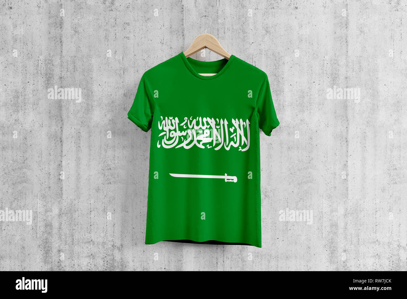 big sale 6d693 32bd5 Saudi Arabia flag T-shirt on hanger, Saudi team uniform ...