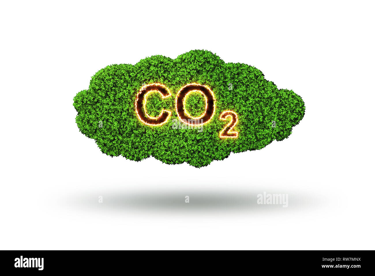 Ecological concept of greenhouse gas emissions - 3d rendering - Stock Image
