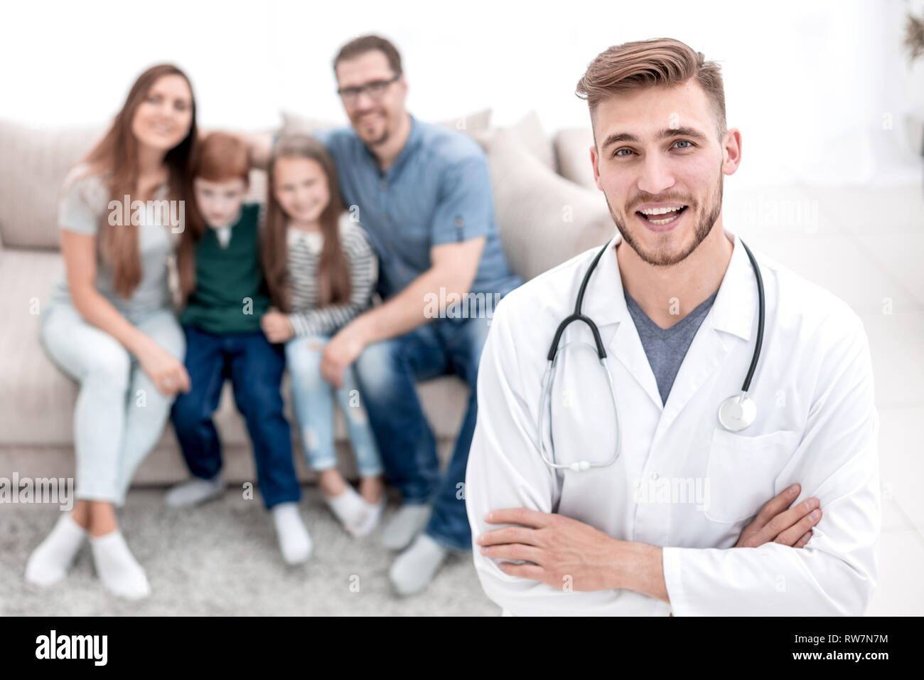 family doctor visiting his patients - Stock Image