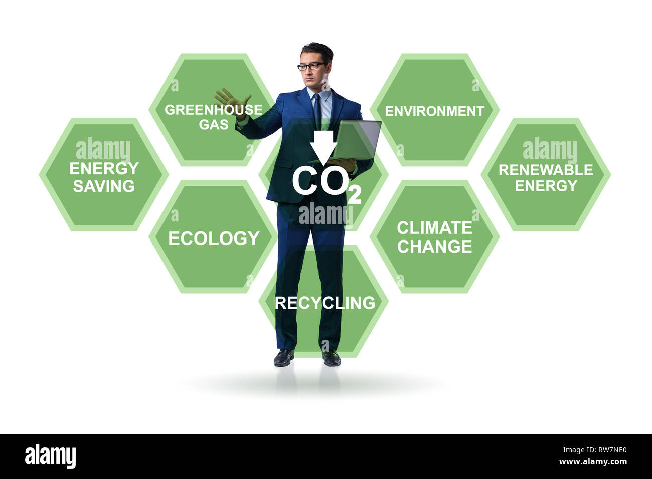 Businessman in ecology and environment concept - Stock Image