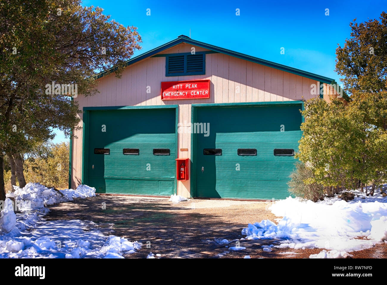 Kitt Peak National Observatory Emergency Center building, one of the highest Fire Stations in the World, the USA and Arizona - Stock Image