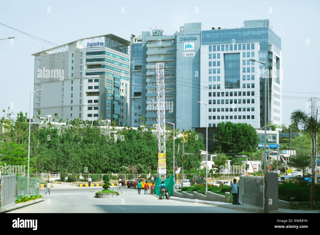 Meenakshi Tech Park is the state-of-the-art bulding houses leading software companies delotte,jda,xlinx in Hyderabad,India - Stock Image