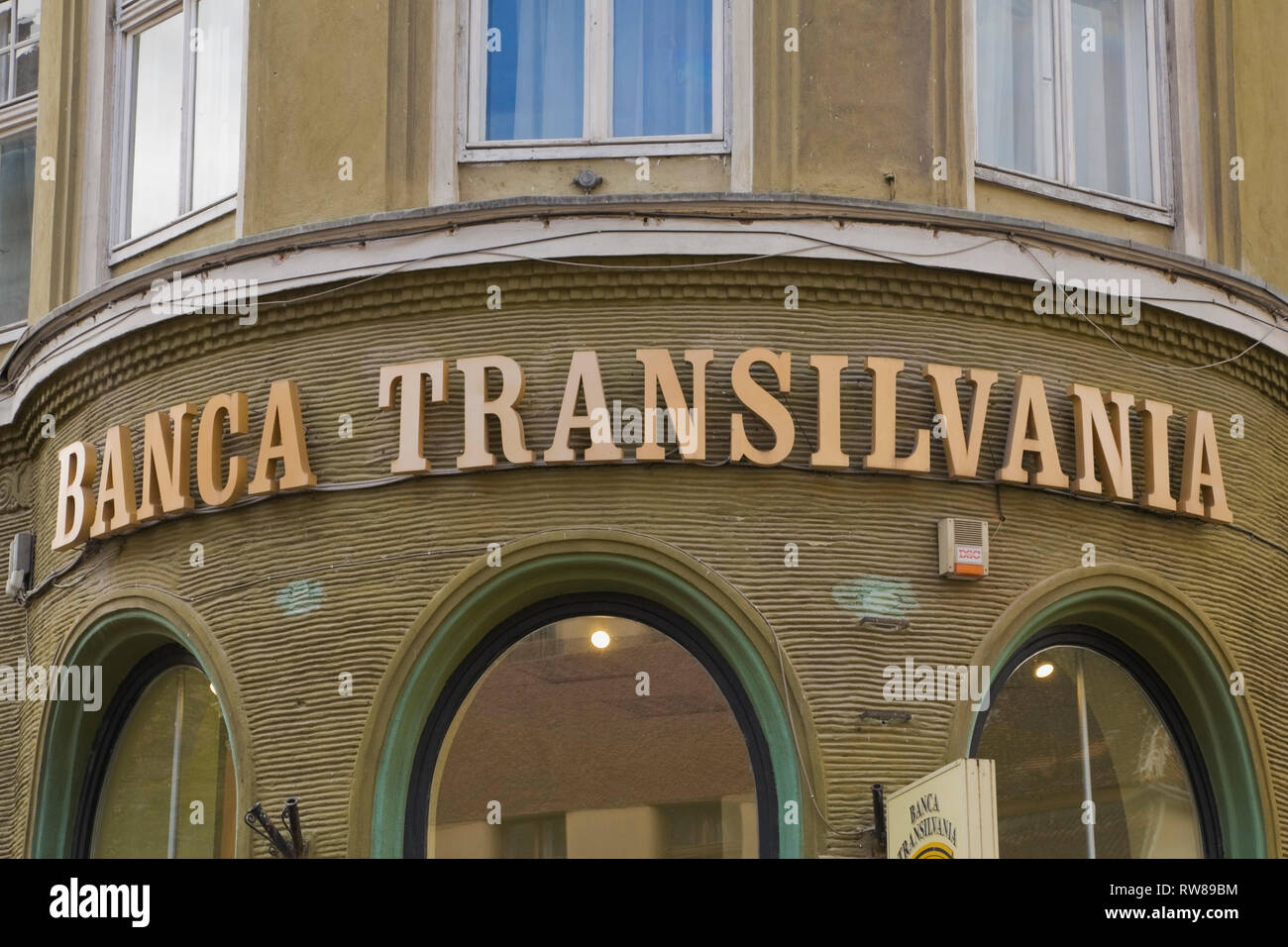 Banca Transilvania financial institution building facade, Brasov, Romania, Eastern Europe - Stock Image