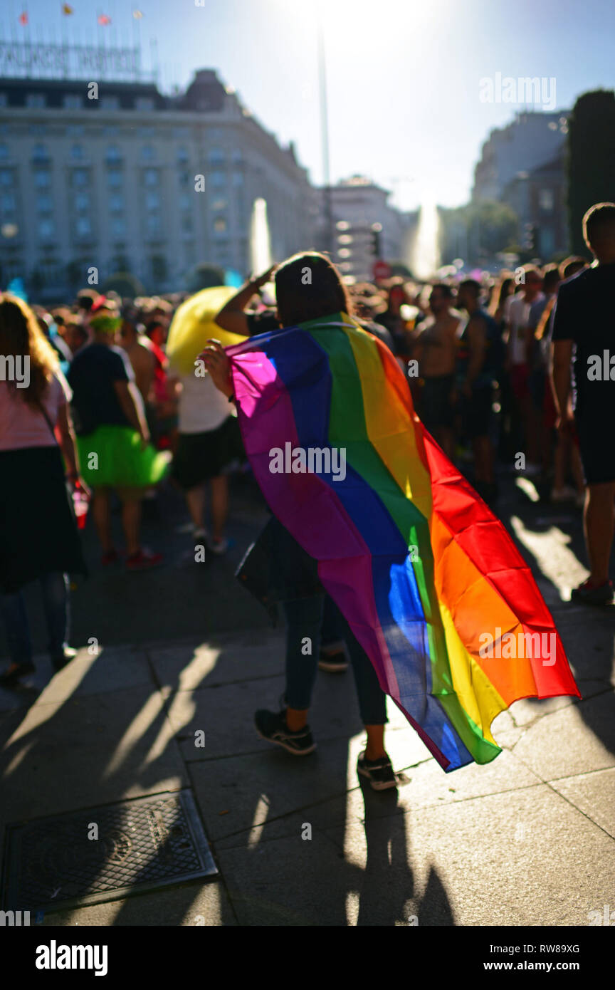 'Whoever you love, Madrid loves you' is the slogan of this year´s edition of WorldPride, the most important worldwide event for the LGBT Community. Th - Stock Image