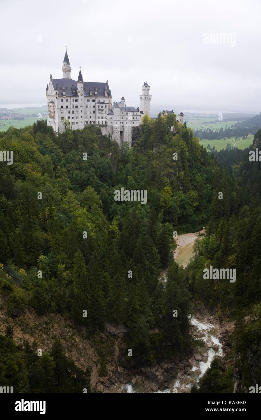Neuschwanstein Castle built in the Romanesque Revival architectural style by King Ludwig II, Hohenschwangau, Bavaria, Germany - Stock Image