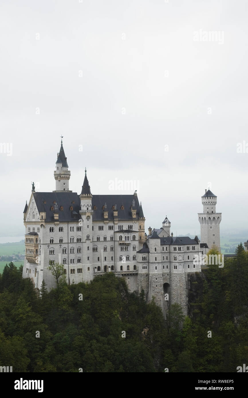 Neuschwanstein Castle built in the Romanesque Revival architectural style by King Ludwig II, Hohenschwangau, Bavaria, Germany Stock Photo