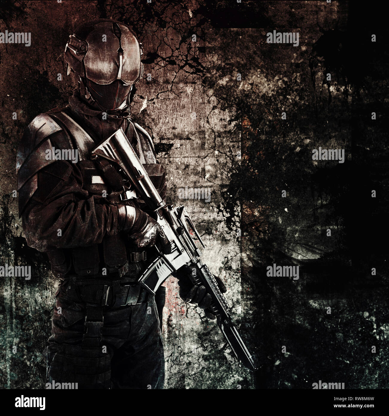 Hand drawn image of a spec ops police officer SWAT. Stock Photo