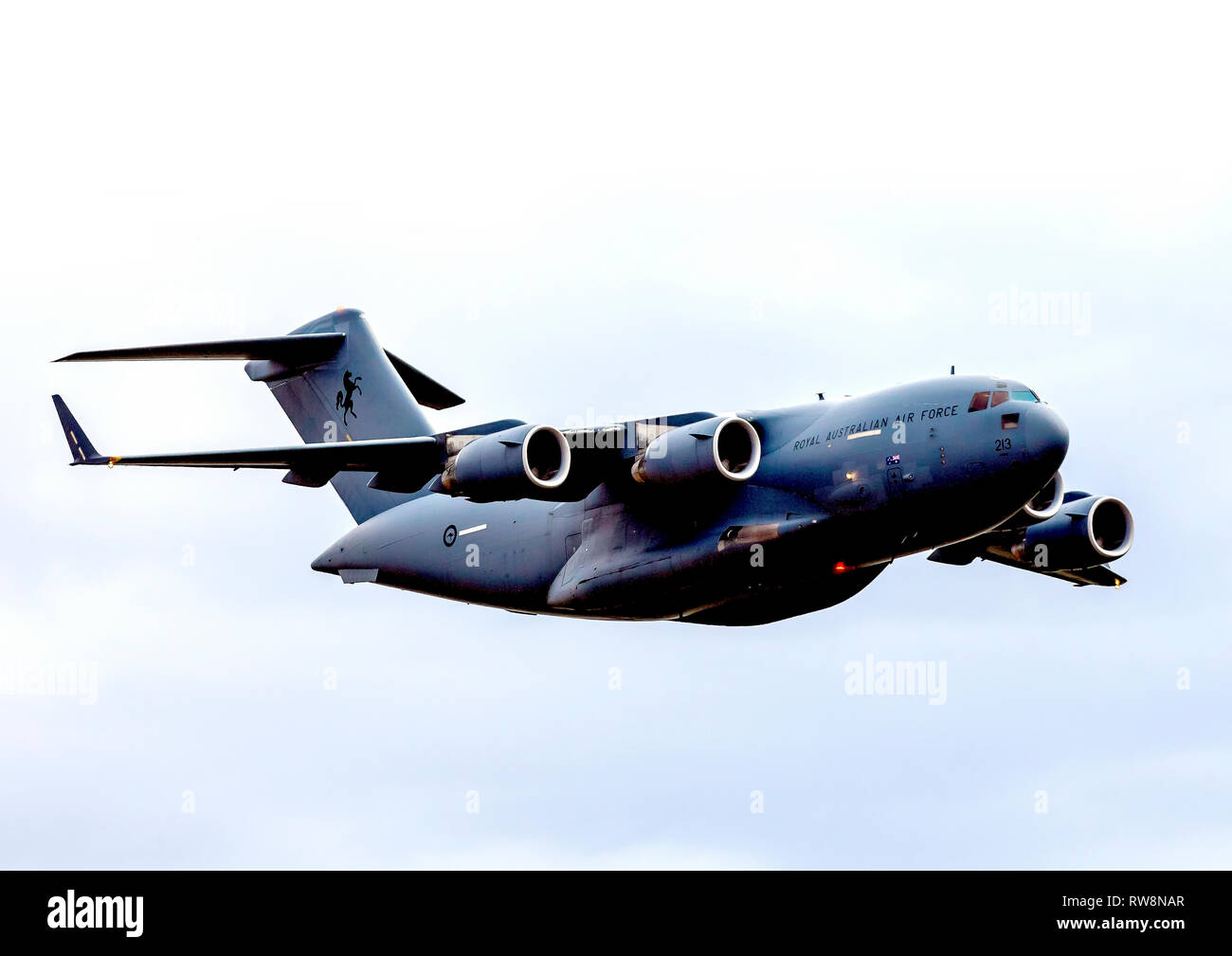 One of six Royal Australian Air Force Boeing C17 Globemaster 111 transport aircraft flew at the Temora Warbirds Downunder 2018 in Australia - Stock Image
