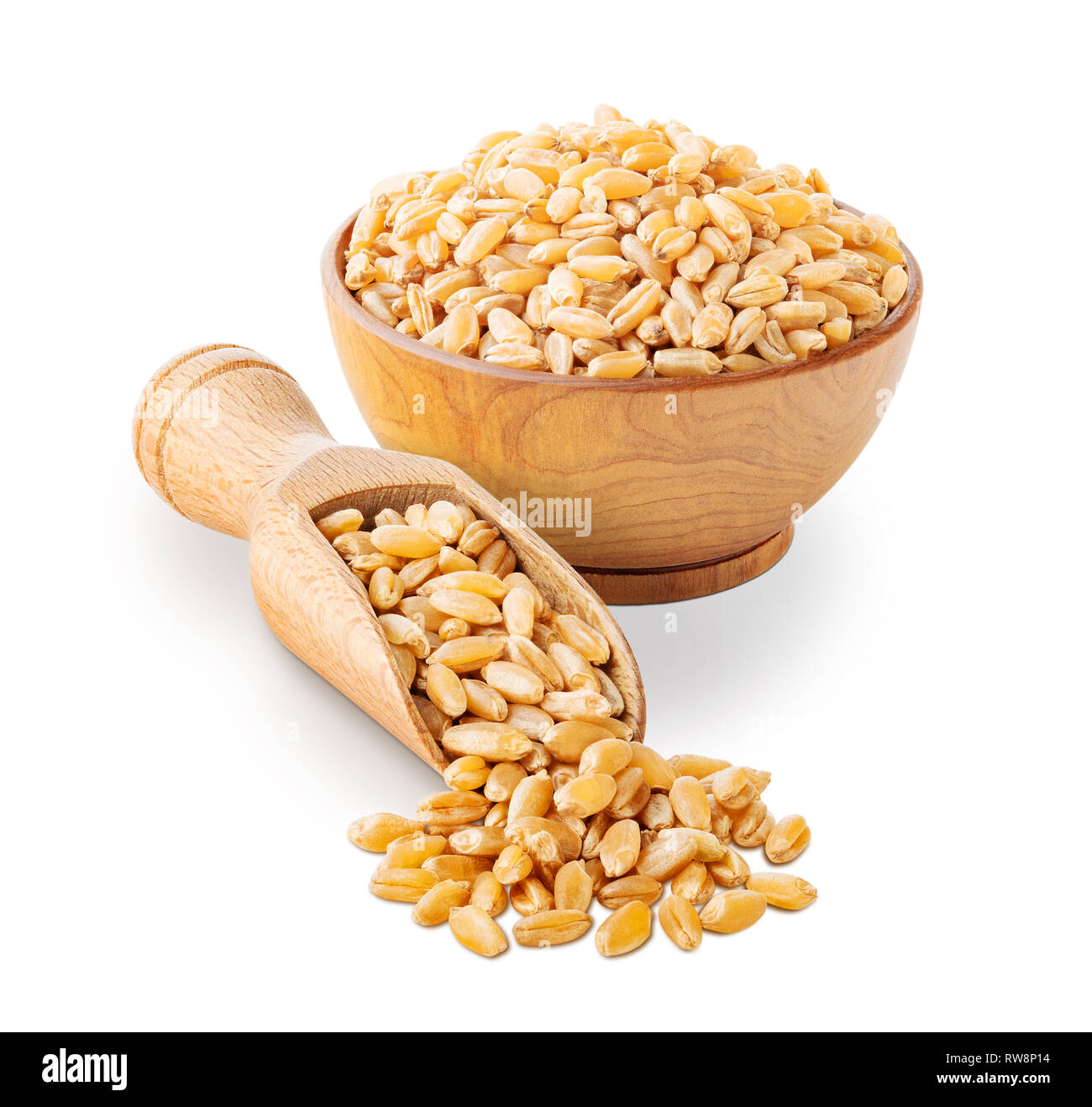 Wheat grains isolated on white background Stock Photo