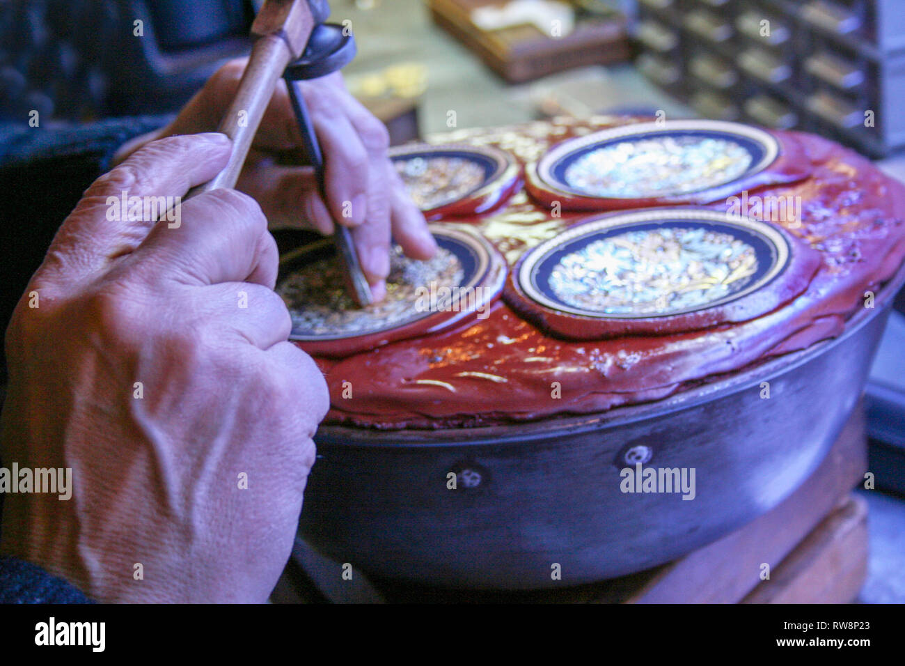 At Toledo - Spain - On february - 2010 - spanish goldsmith engraving jewelry - Stock Image