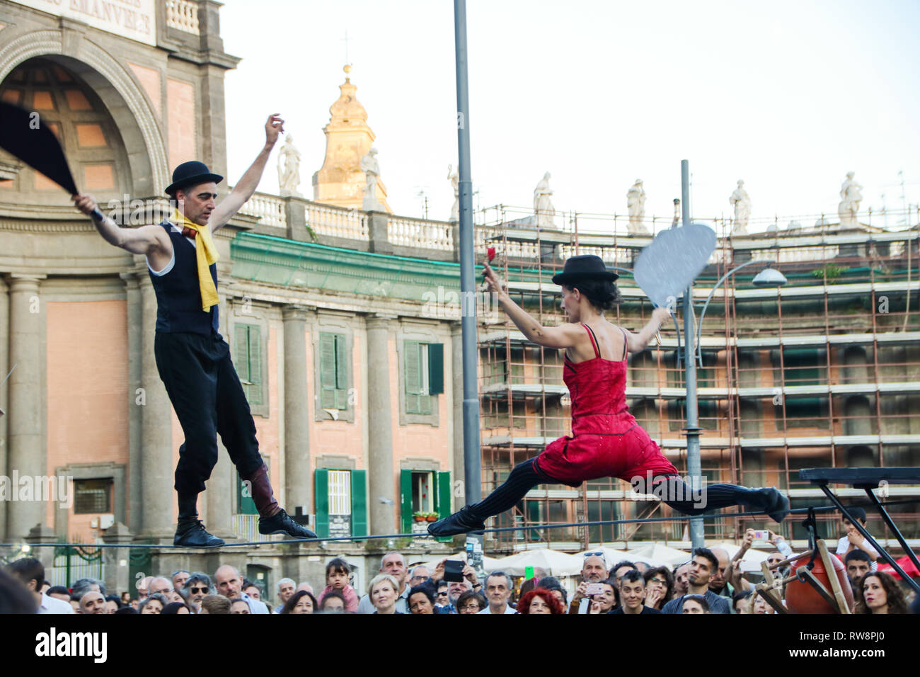 At Naples, Italy, On june, 09/2018 - tightrope walkers at Piazza Dante - Stock Image