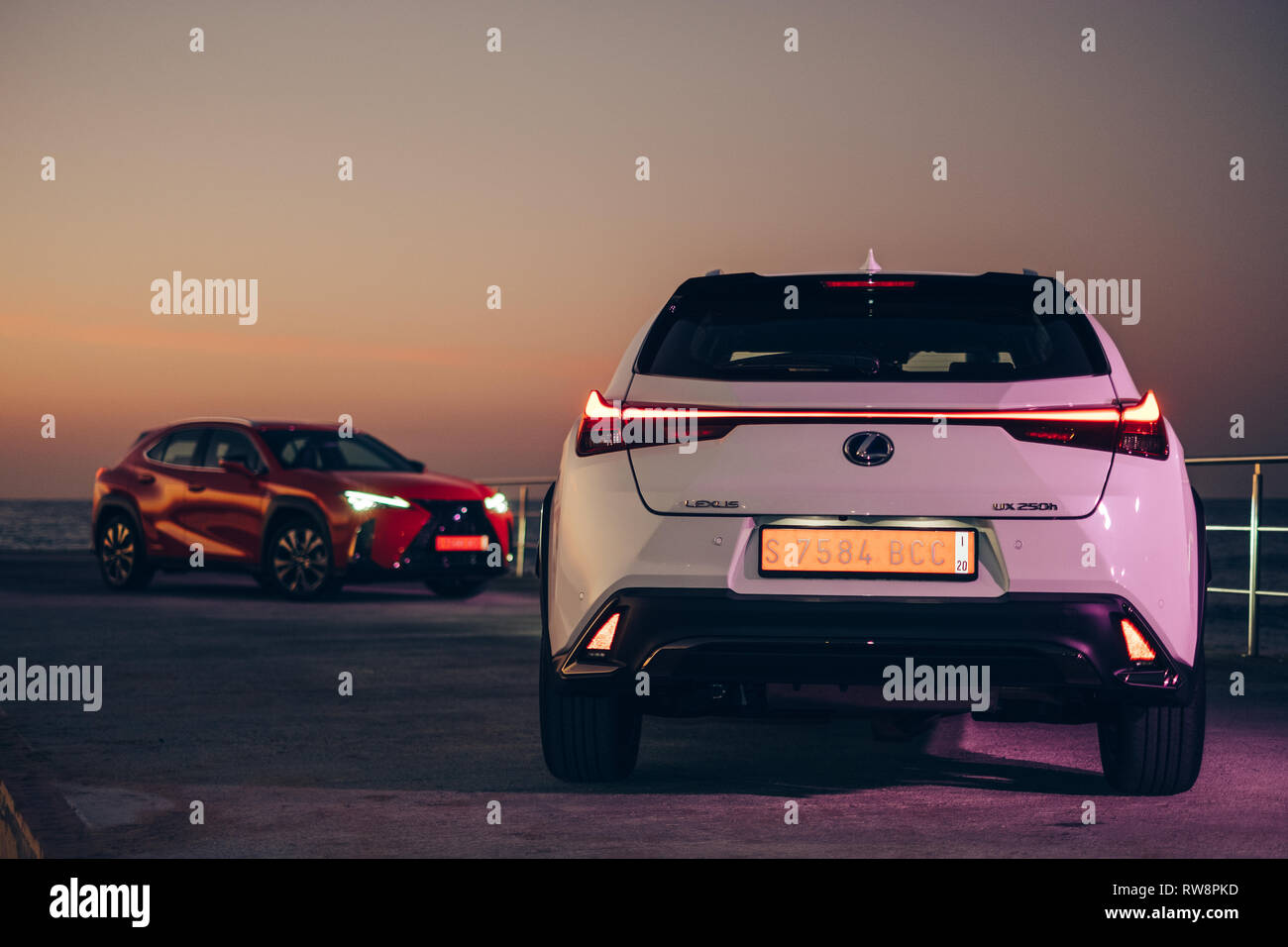 BARCELONA, FEBRUARY 2018 - New Lexus UX compact sized hybrid crossover is displayed for editorial purposes - Stock Image