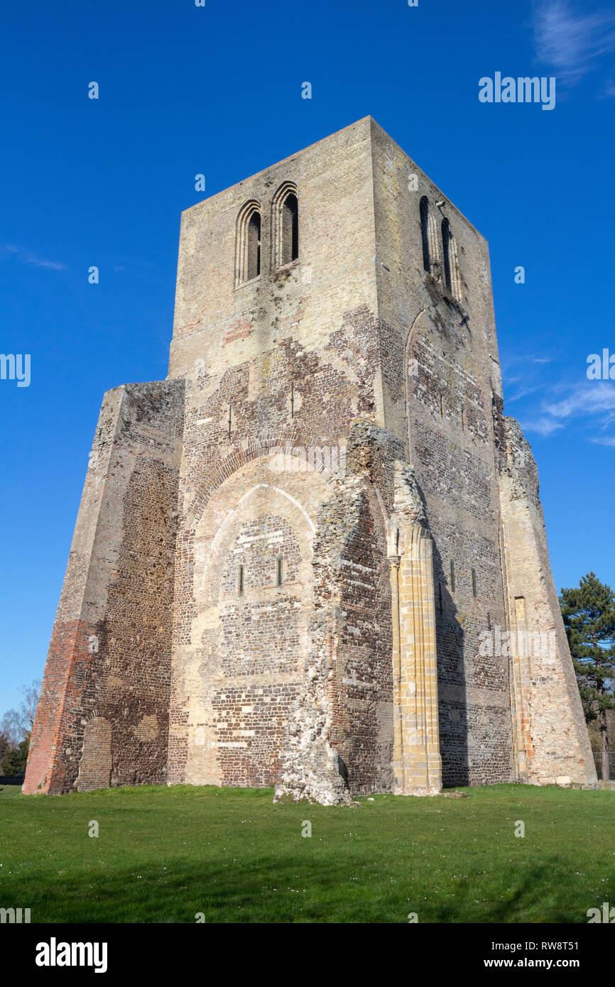 Square Tower of Saint Winoc Abbey, Bergues, Nord Pas de Calais, France - Stock Image
