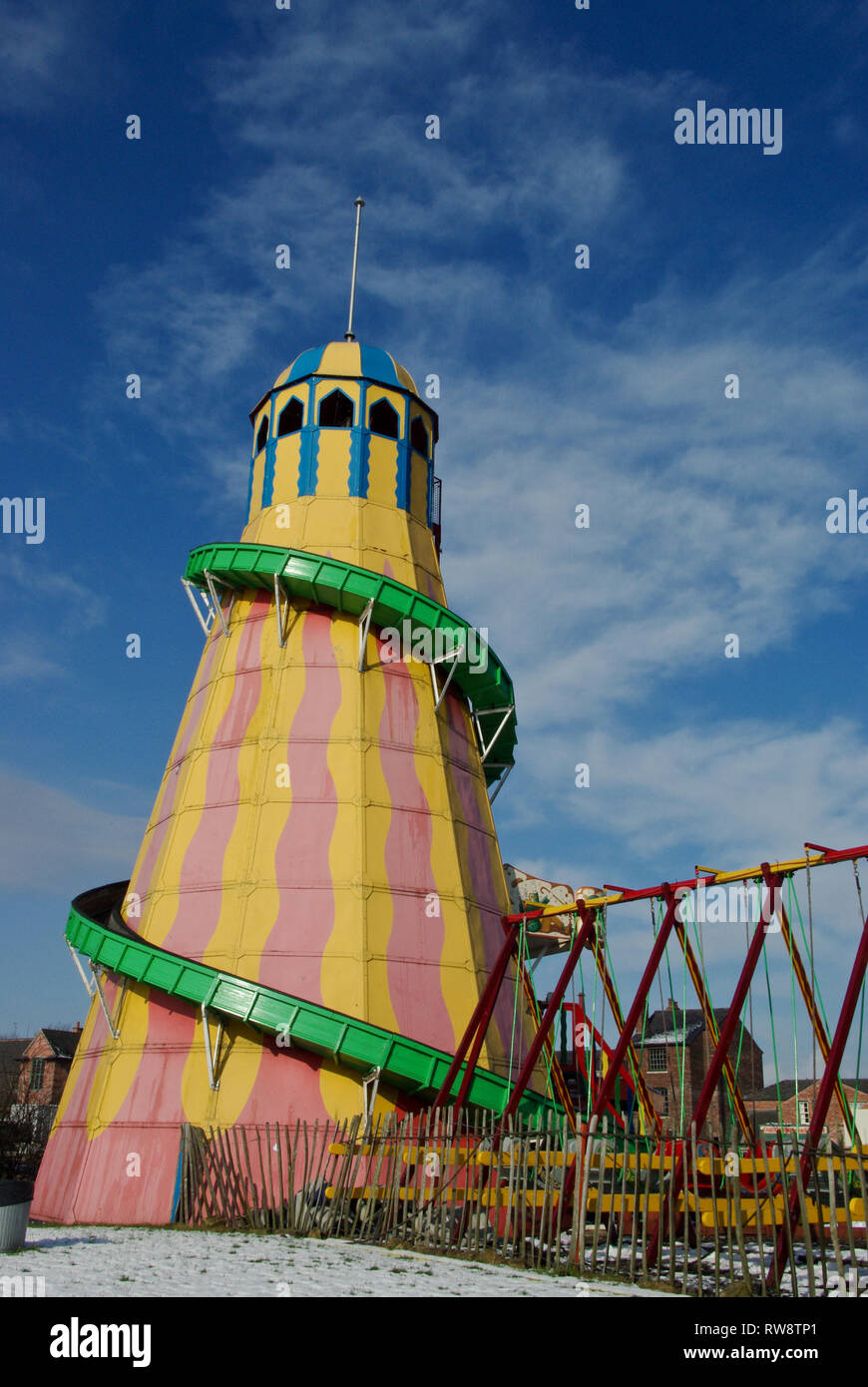 Old helter skelter in the 1930's fairground at the Black Country Living Museum, West  Midlands, UK - Stock Image