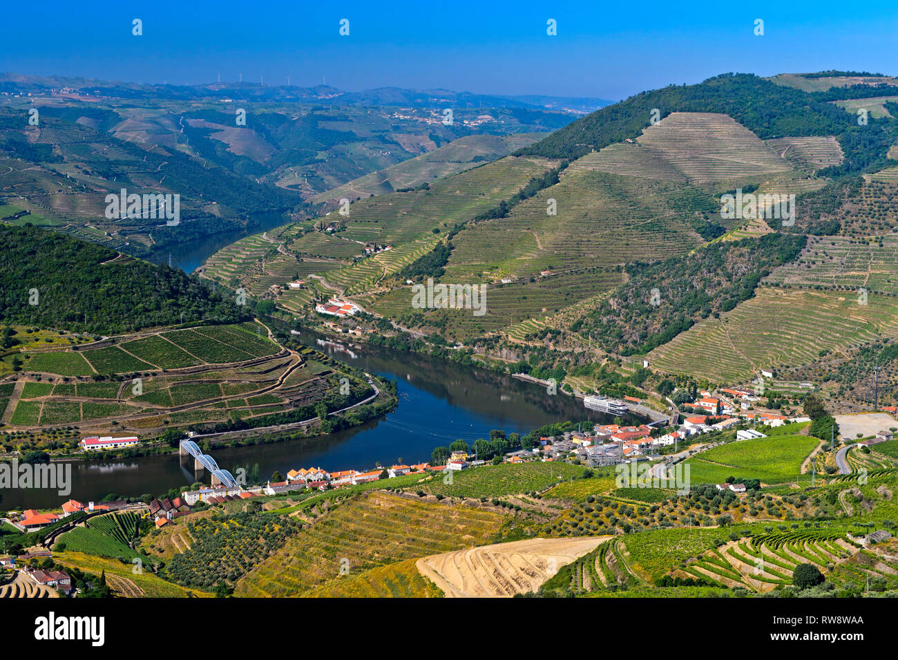 The municipality Pinhao at the Douro River in the port wine region Alto Douro, Pinhao, Douro Valley, Portugal - Stock Image