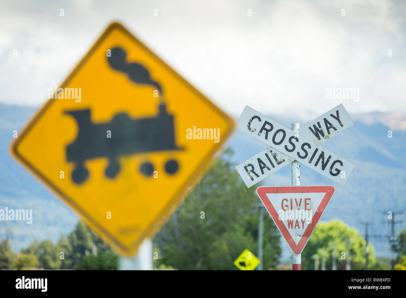 Railway Crossing Signs Stock Photos & Railway Crossing Signs