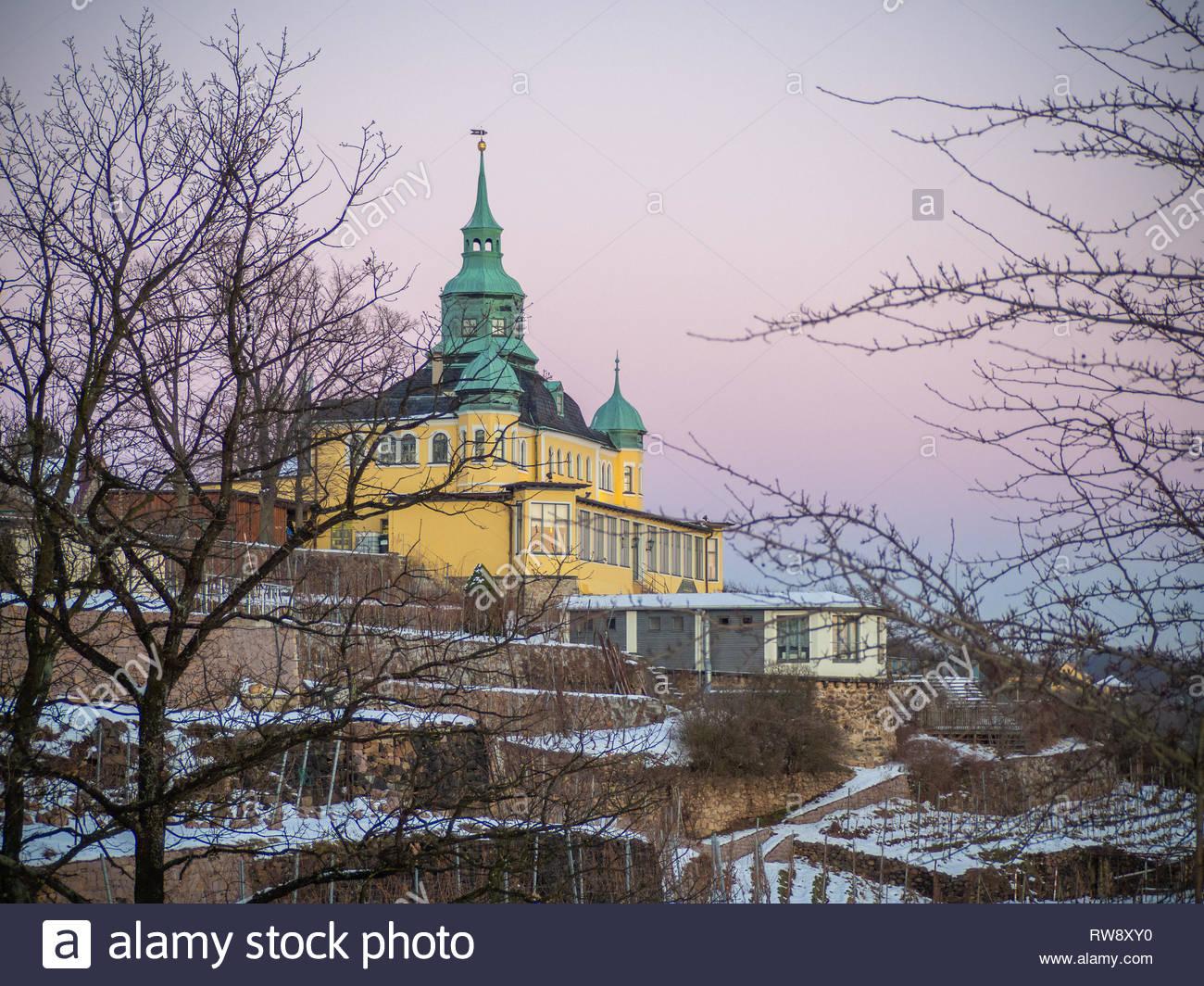 Spitzhaus Radebeul bei Dresden im Winter Stock Photo