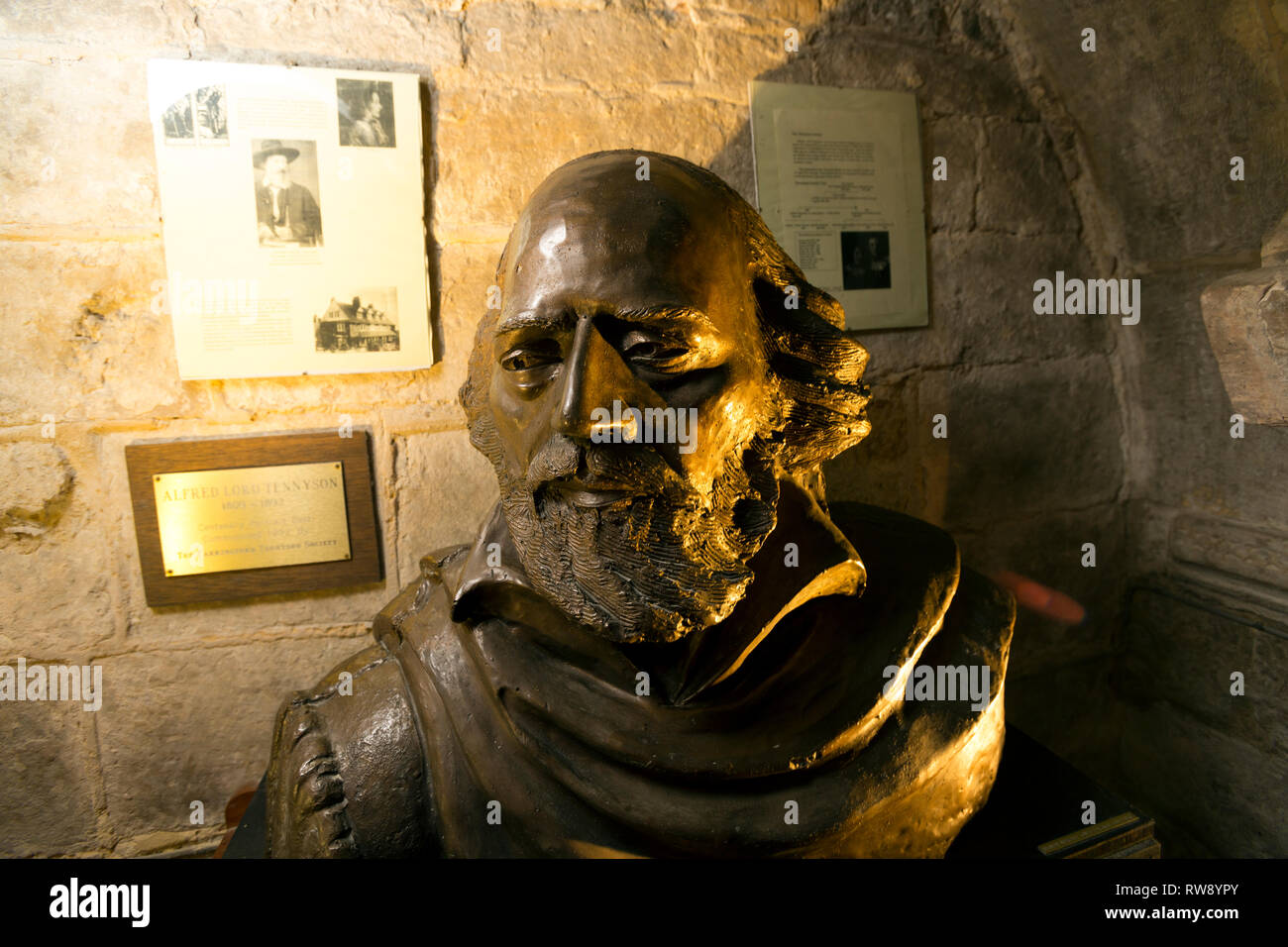 Alfred, Lord, Tennyson, poet, laureate, bust, sculpture, St James' Church, Yarmouth, Isle of Wight, England, UK, - Stock Image