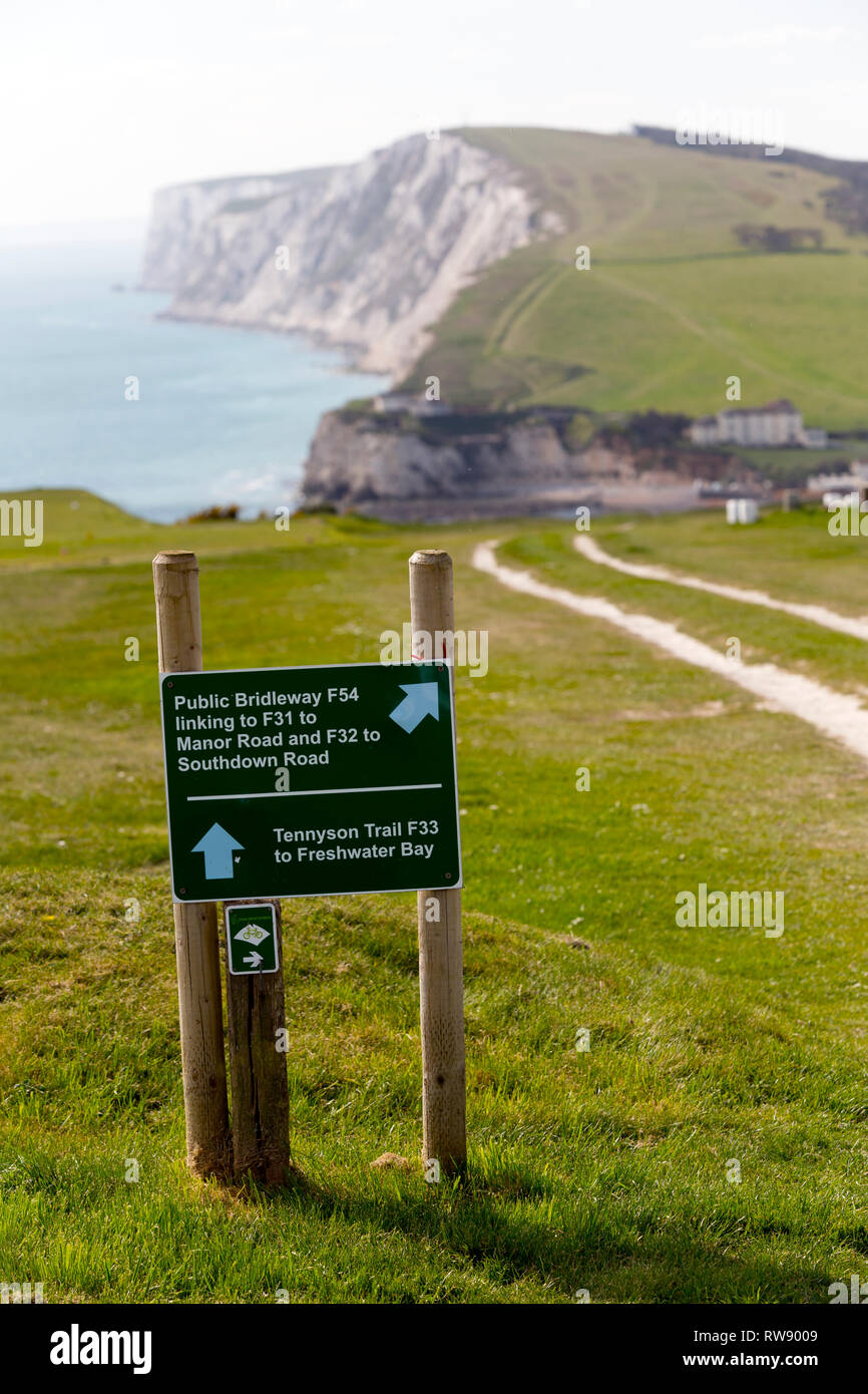 Walkers, Ramblers, coastal,path, Tennyson,Down,Freshwater,Bay, Isle of Wight, England, UK, - Stock Image