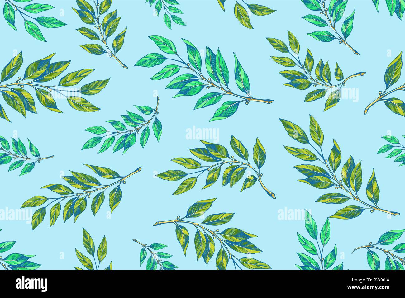 Laurel twigs seamless patern - Stock Vector