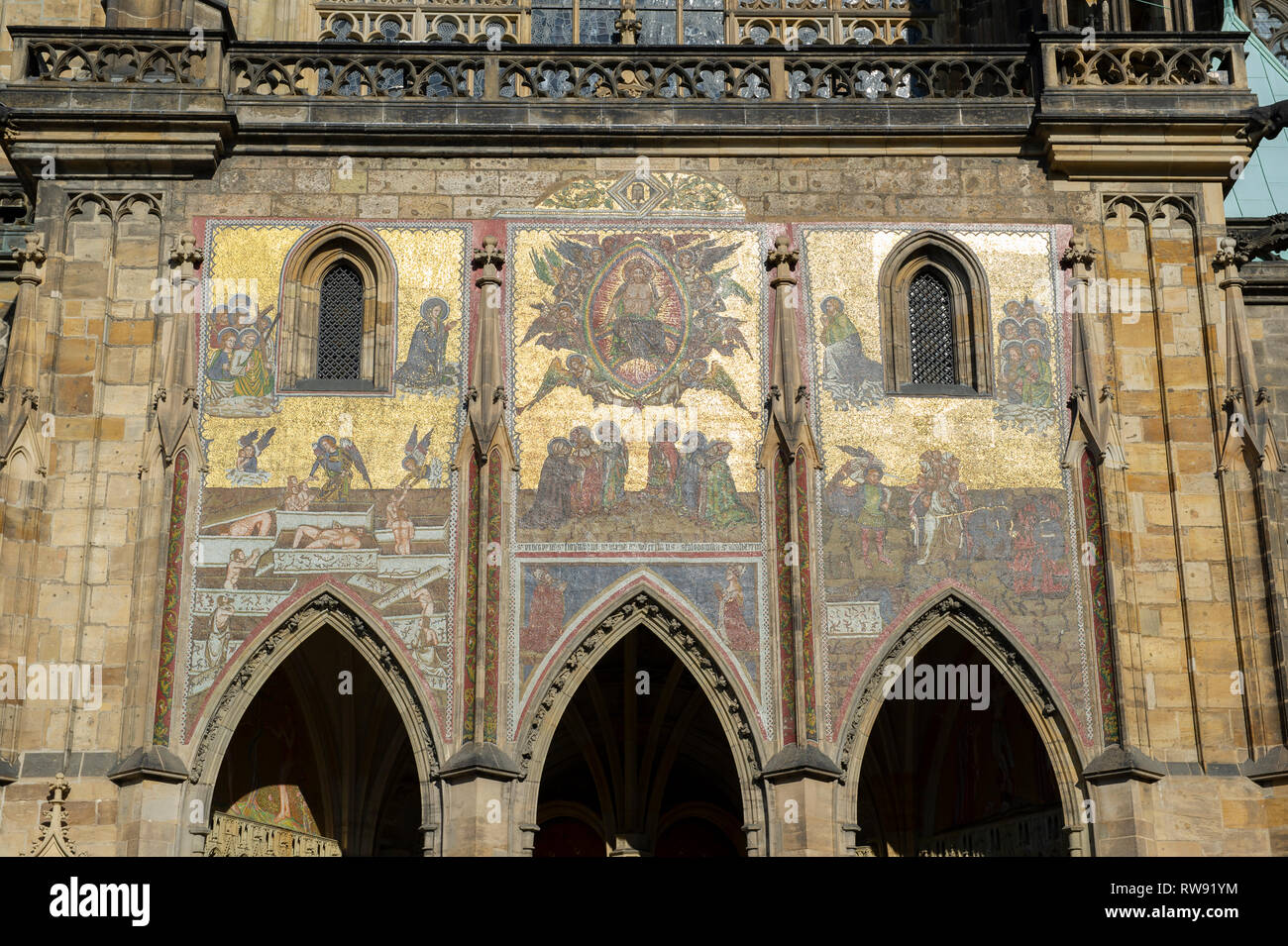 The Last Judgement Mosiac at the Golden Portal of St.Vitus Cathedral in the grounds of Prague Castle, Prague (Praha), Czech Republic - Stock Image