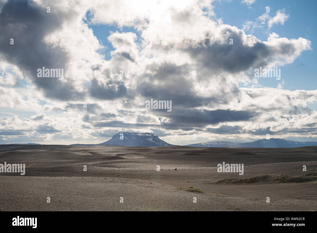 Herdubreid tuya (flat-topped steep-sided volcano) mountain in Ódáðahraun lava field Highlands of Iceland Northeast Iceland, Scandinavia, with lens fla - Stock Image